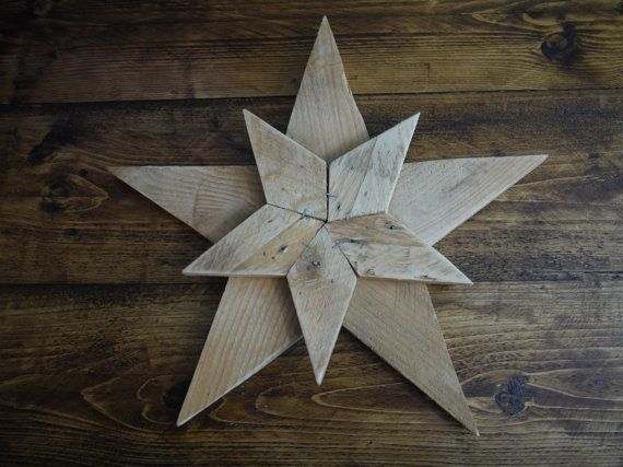 Wooden Patchwork Double Star. Handmade in UK by TheWoodForgeCo