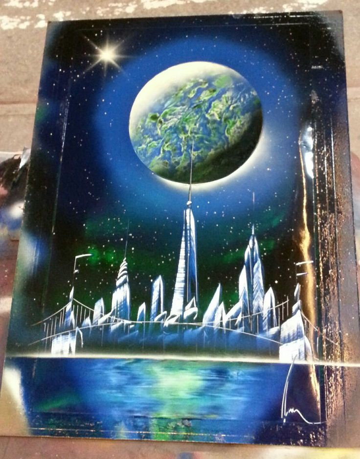 Spray paint art freedom tower nyc 22in x 14in enamel for Outer space garden design cumbria