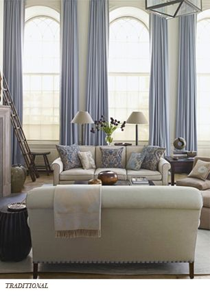 Traditional: Living Rooms, Decor Ideas, Long Curtains, Color, Arches Window, Tall Window, High Ceilings, Blue Curtains, Window Treatments