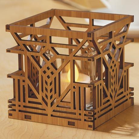 So intricate, so finely and perfectly crafted, each is a little marvel. Precision-cut from sustainable bamboo, all are adapted from original designs by America's greatest architect. Each Lake Geneva Inn (Lake Geneva, Wisconsin, 1911; demolished 1970) 4' cube comes with a glass insert and batteryoperated tea light.