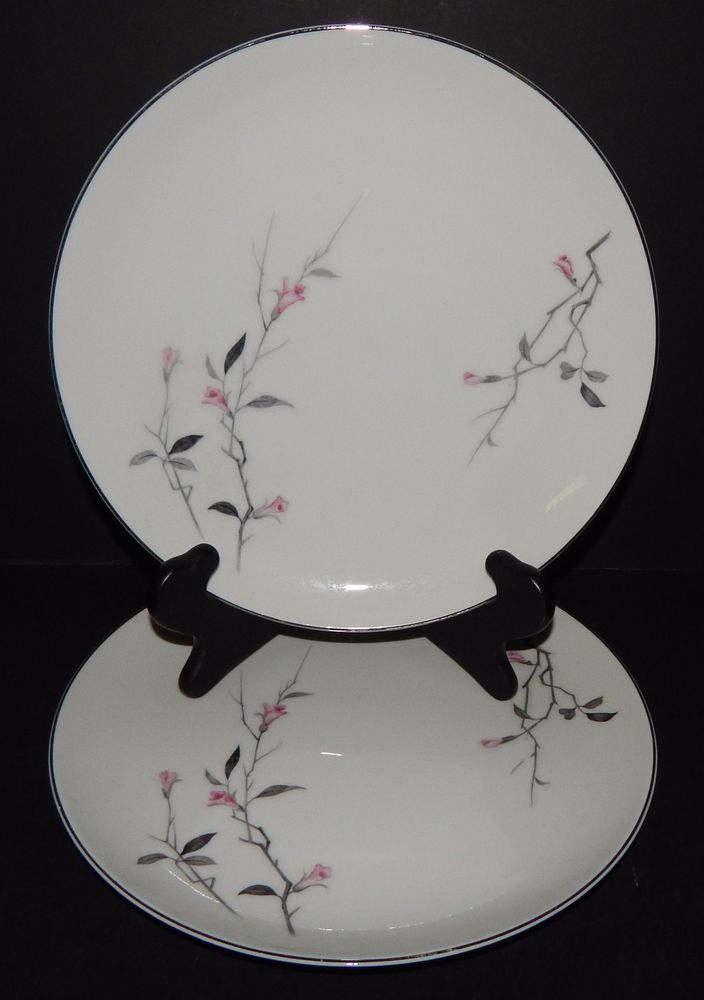 2 CHERRY BLOSSOM WHITE PINK DINNER PLATES FINE CHINA JAPAN #1067 Silver Rim  #CHERRYBLOSSOM