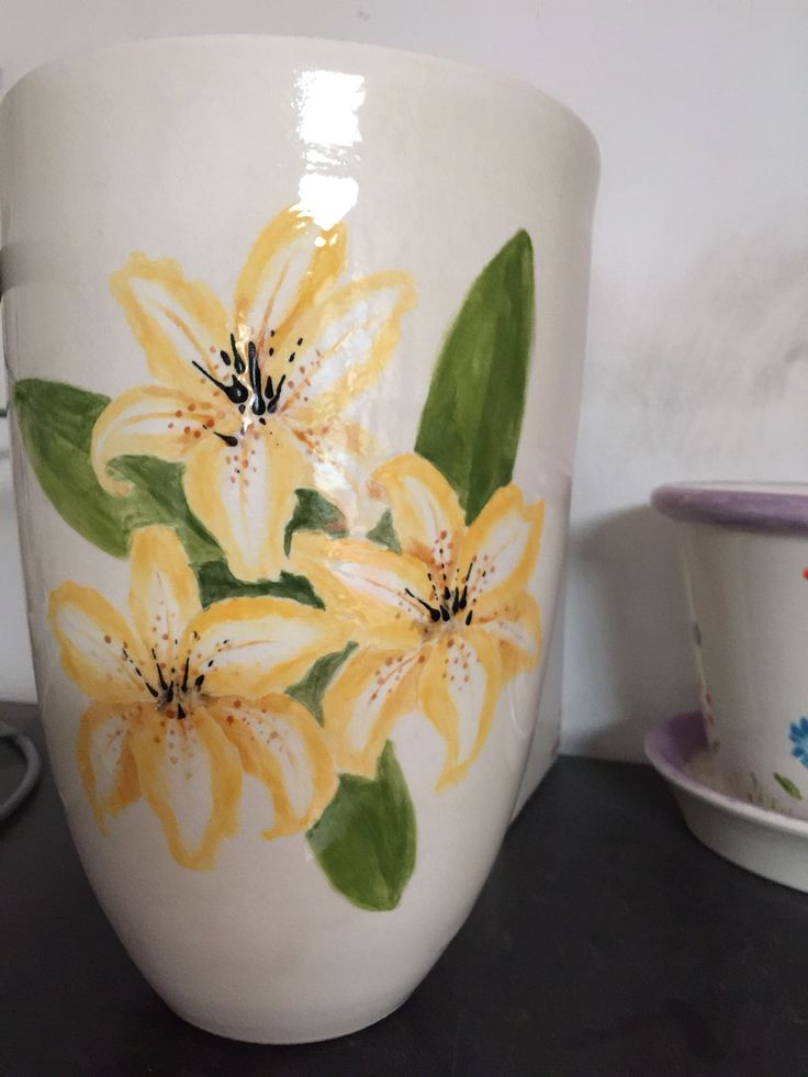 A Cone Vase painted at The Crafty Cafe