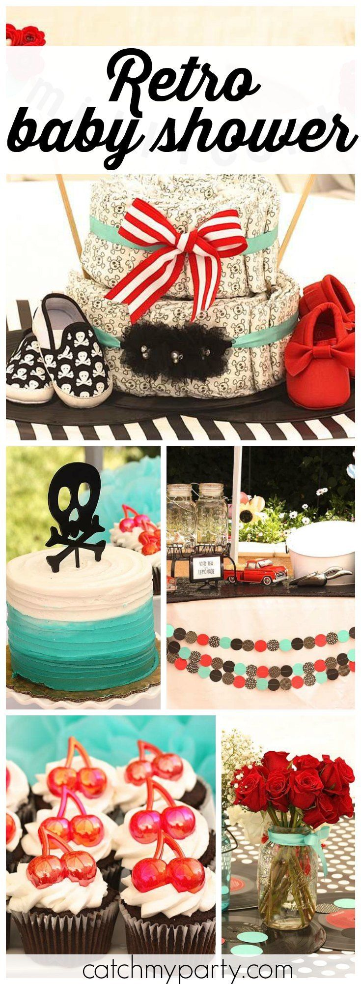 Retro rockabilly is the theme of this unique baby shower! See more party ideas at Catchmyparty.com!