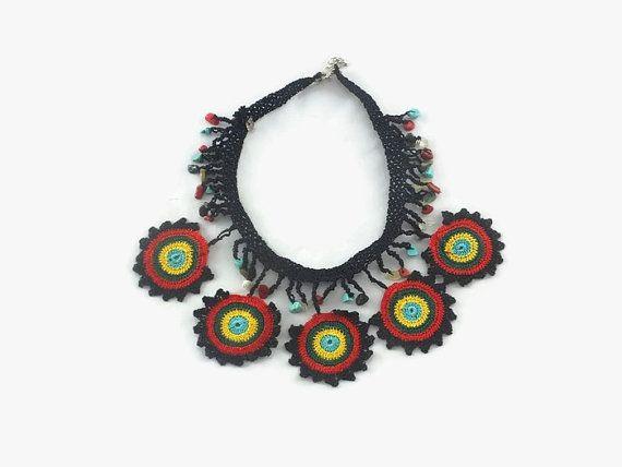 Crochet Statement Necklace  Beaded Choker   Multicolor by Nakkashe