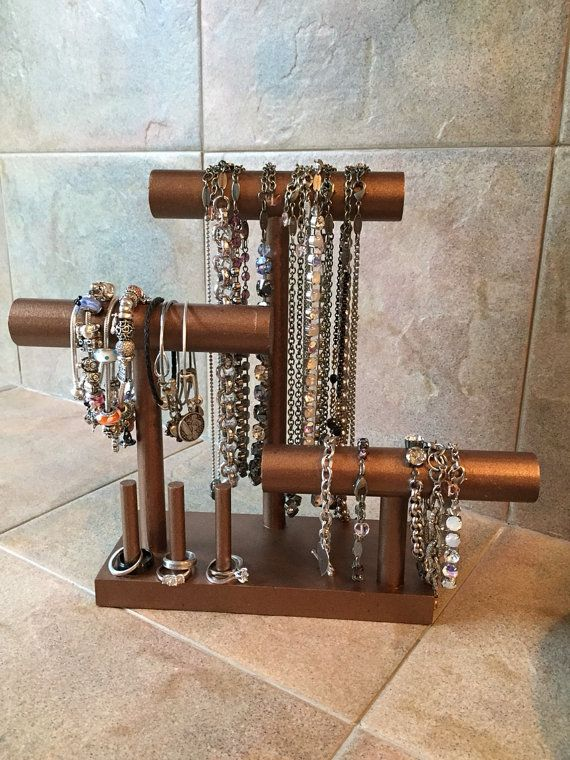 Jewelry Organizer - Bracelet, Necklace, and Ring Holder - Small Footprint - 30+ Colors Available