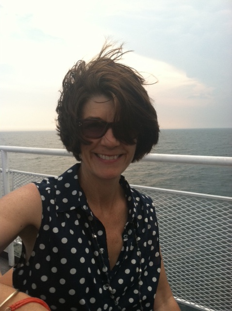 I prefer the windblown look, best achieved on board the ferry