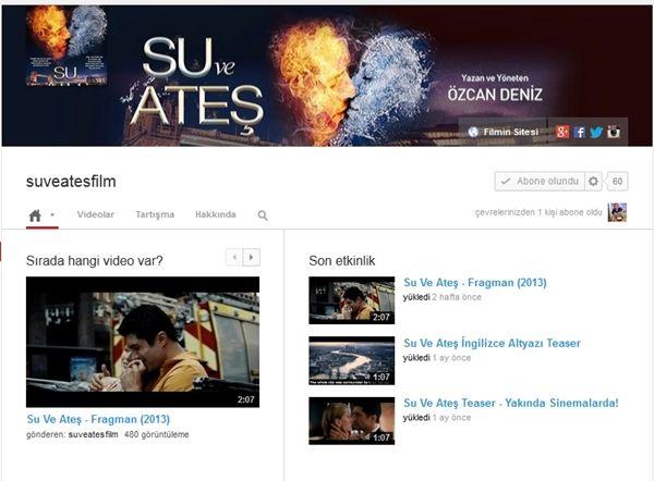 Su ve Ateş filmimizin teaseri,fragmanını ve filmimizden en özel videoları youtube sayfamızdan takip edebilirsiniz.  https://youtube.com/suveatesfilm