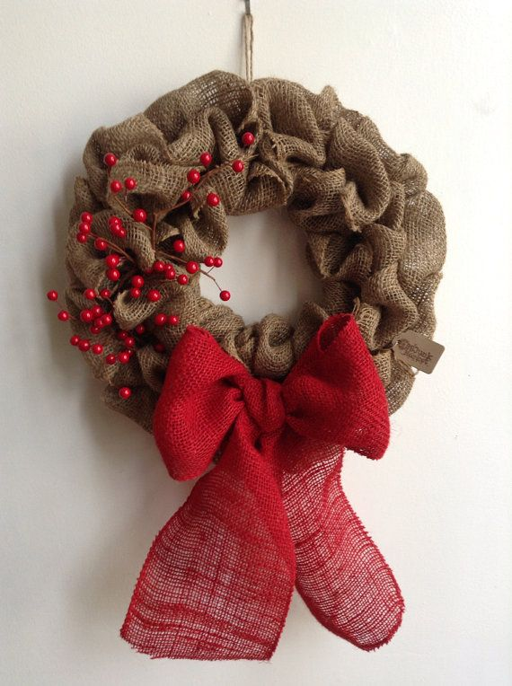 Burlap Christmas Wreath Red Wreath Tan Wreath by JBJunkMarket