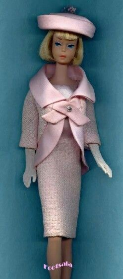 """""""Fashion Luncheon"""" modeled by a short haired American Girl Barbie from the collection of Gene Foote."""