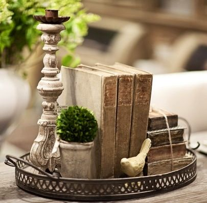 Trays candles and book on pinterest Decorative trays for coffee table