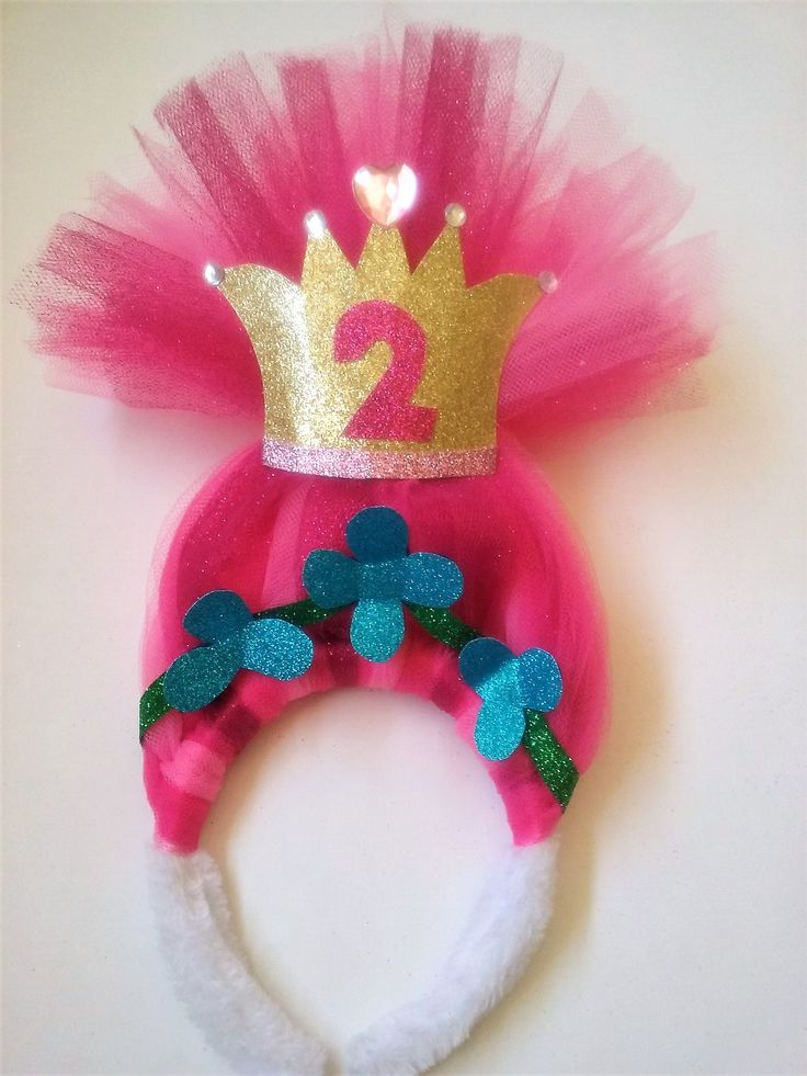 $ 10 Troll Party Hair headband Poppy Second birthday pink sparkly birthday crown
