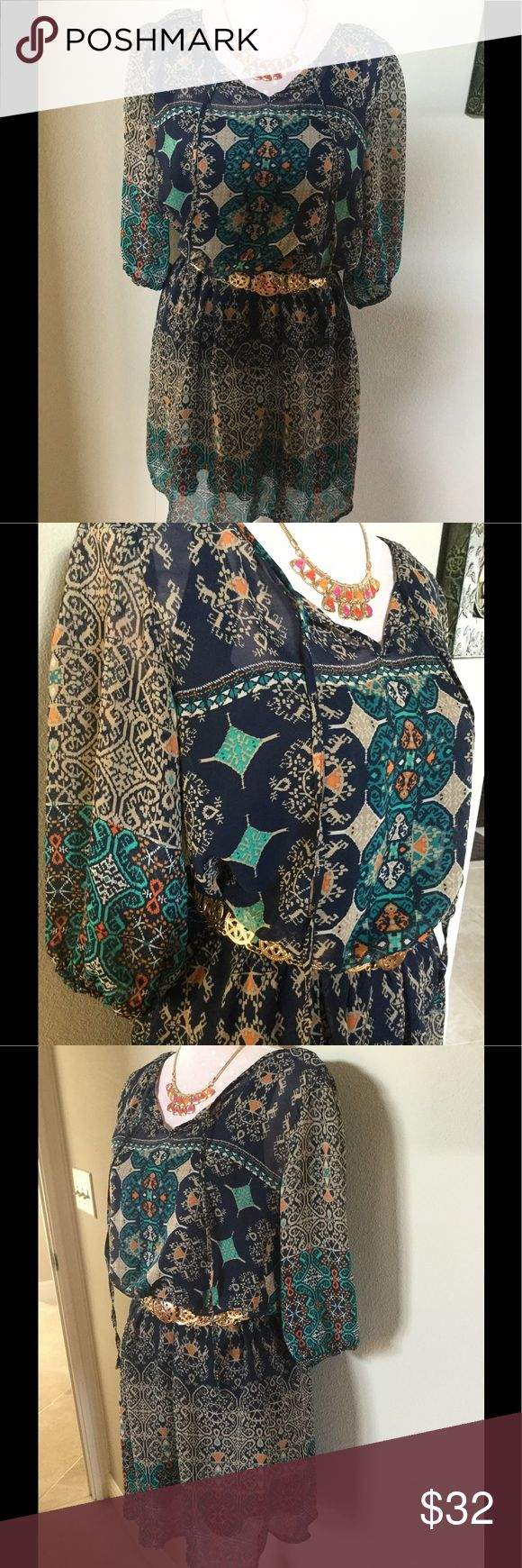 Body Central Floral Print Dress Size Large Body Central Floral Print Dress Size Large EUC! This dress has a semi attached dark blue tank styled slip underneath, perfect for the summer time, belt and necklace are NOT included Body Central Dresses