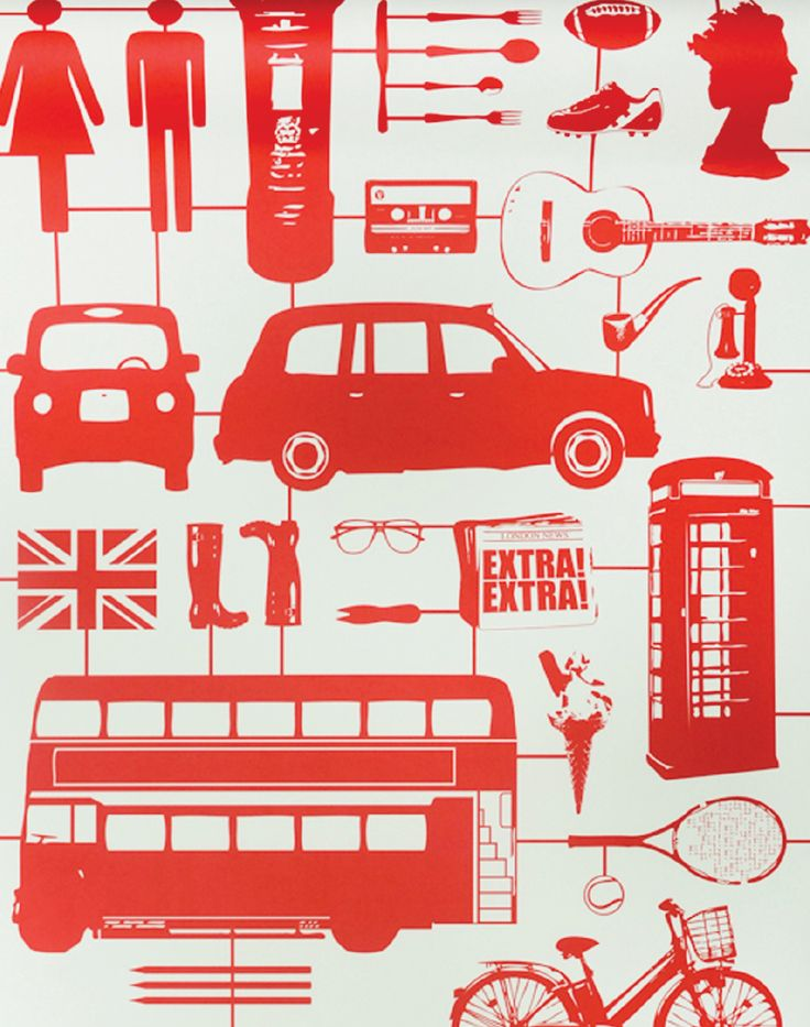 Overview Celebrate all things British with some of our most iconic symbols such as the Black cab, Queens Head, Union Jack and Big Ben all featured in Victoria Eggs Airfix London Wallpaper Measurements