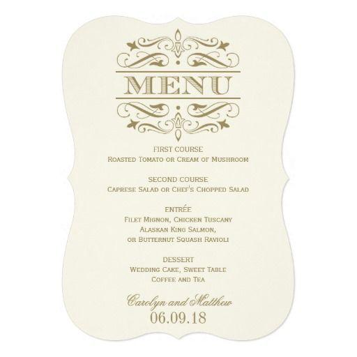 192 best wedding dinner menu images on Pinterest Wedding dinner - formal dinner menu template