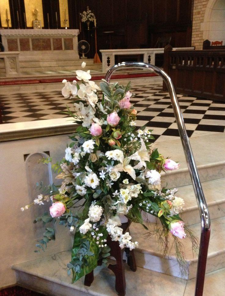 Wedding ceremony flowers on a budget#matching arrangements#happy bride