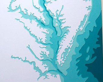 La baie de Chesapeake - art original de 8 x 10 papercut