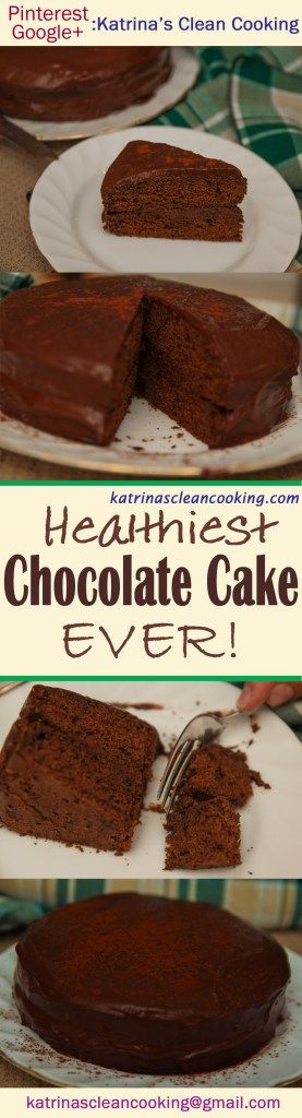 This Ultimate #HealthyChocolateCake is #glutenfree, refined-sugar free, contains no butter or oil, can be dairy-free and even #Vegan! Only 7 ingredients needed, and it is EXACTLY like a conventional chocolate cake – even you won't be able to tell! Find out more at katrinascleancooking.com...