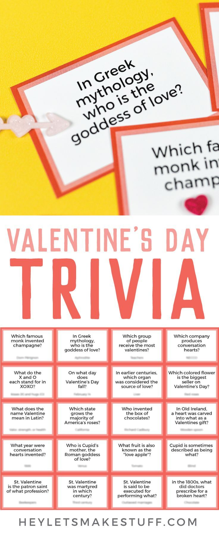 Test Your Knowledge Of All Things St. Valentine, Cupid, Chocolate, And  Hearts With This Fun Printable Valentineu0027s Day Trivia! Perfect For Trivia  Night Or As ...