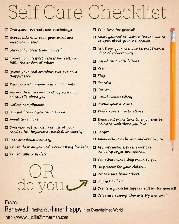 Selfcare checklist #selfcare #Renewed http://www.LucilleZimmerman.com/book