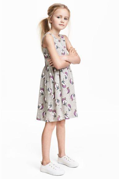 Dżersejowa sukienka we wzory - Szary/Jednorożce - Dziecko | H&M PL 1