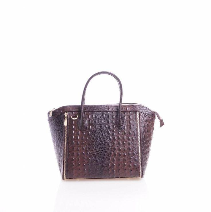 - Leder handtas met kokosnoot print in bruine kleuren