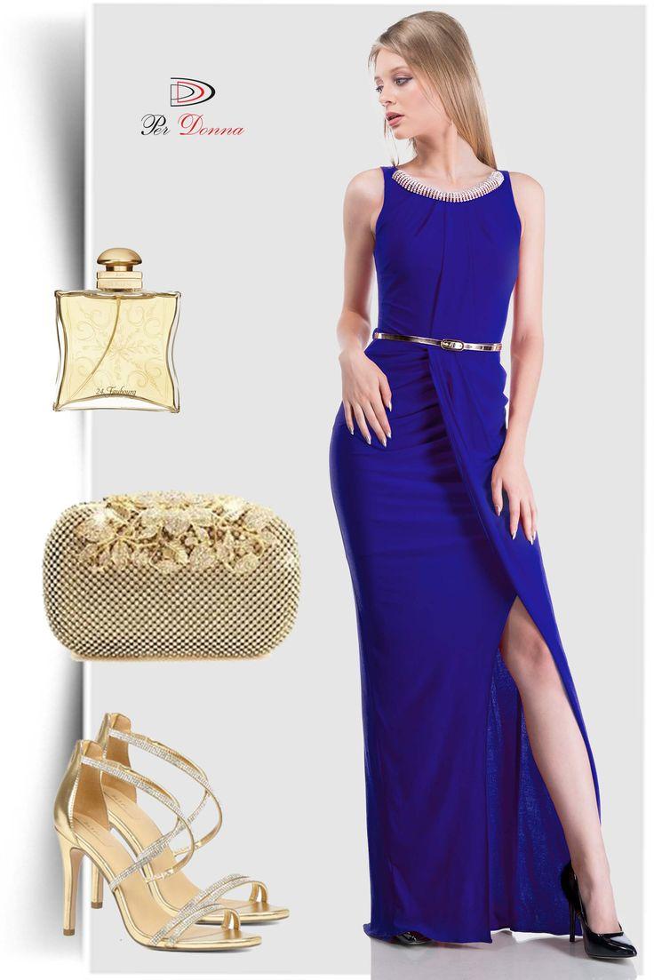 Vestido largo azul, Vestido azul, Accesorios de oro