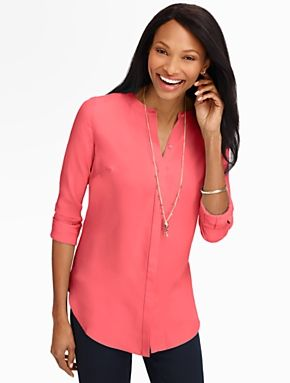 Talbots - Banded Collar Shirt | Blouses and Shirts | Petites - this color matches my favorite coral shirt