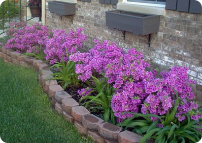 Landscaping bricks garden inspiration pinterest for Small flower garden in front of house