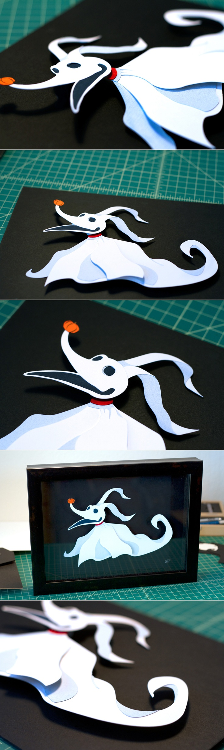 Zero - Nightmare Before Christmas 8.5x11 handcut 3d papercraft - avail on my etsy as well - yay for ghost doggies!! https://www.etsy.com/listing/120731487/zero-nightmare-before-christmas-85x11