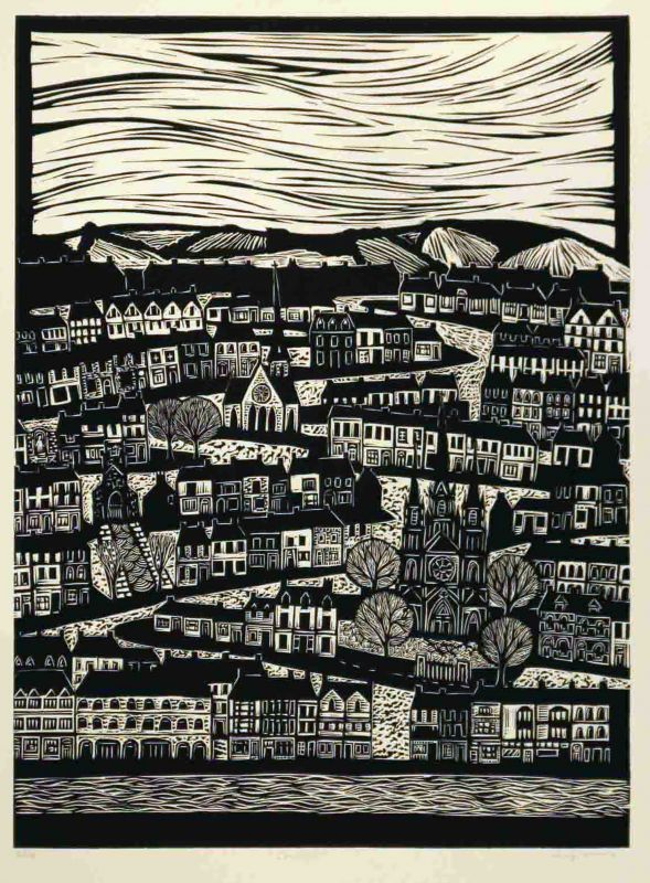 'Corcaigh' by Australian artist & printmaker Anita Laurence (b.1963). Linocut, edition of 40, 56 x 42 cm. via the artist's site