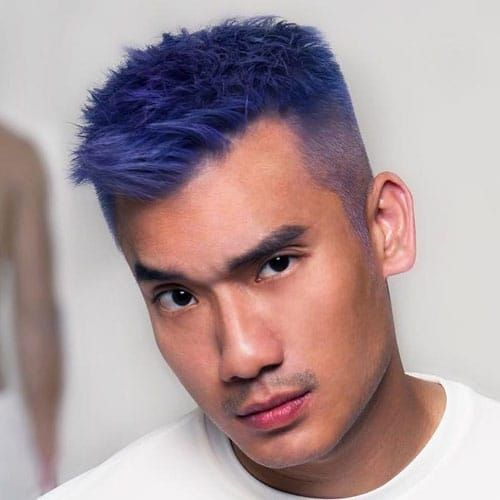 Light Purple Textured Top With High Fade Boys Colored Hair Men Hair Color Mens Hair Colour