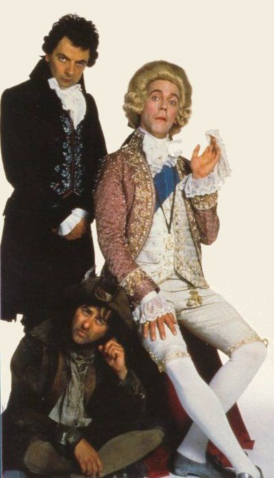 Rowan Atkinson, Hugh Laurie, and Tony Robinson in Blackadder the Third (1987)
