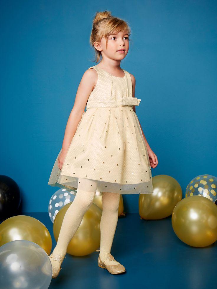 Robe de cérémonie fille tulle et satin beige irise imprimé - Joli volume, jacquard fantaisie et tulle imprimé, voici une petite robe parfaite pour être la plus belle à la fête !    Collection Automne-Hiver 2016 - www.vertbaudet.fr