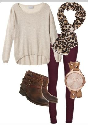 Maroon, ivory, and leopard