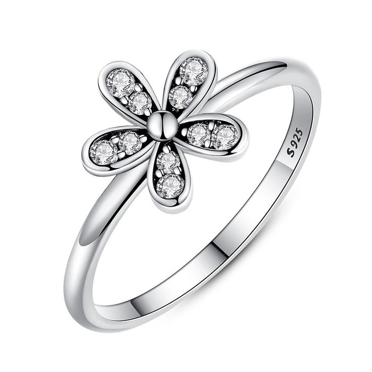 Dazzling Daisy Flower Sterling Silver Ring