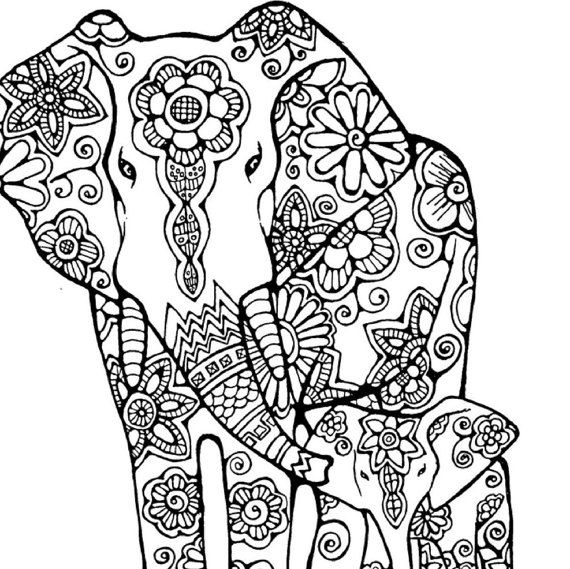 Elephant adult coloring pageoriginal hand by littleshoptreasures