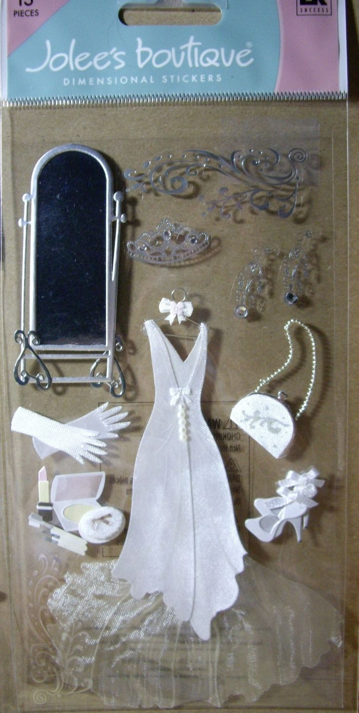 New 13 PC Wedding Gown Bride Bridal Dress Shoes Gloves Mirror Jolees Stickers