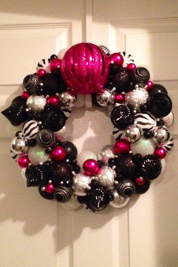 Black, white, zebra, and pink decorative ornament wreath
