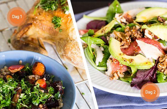 Citronkylling og salat med kylling