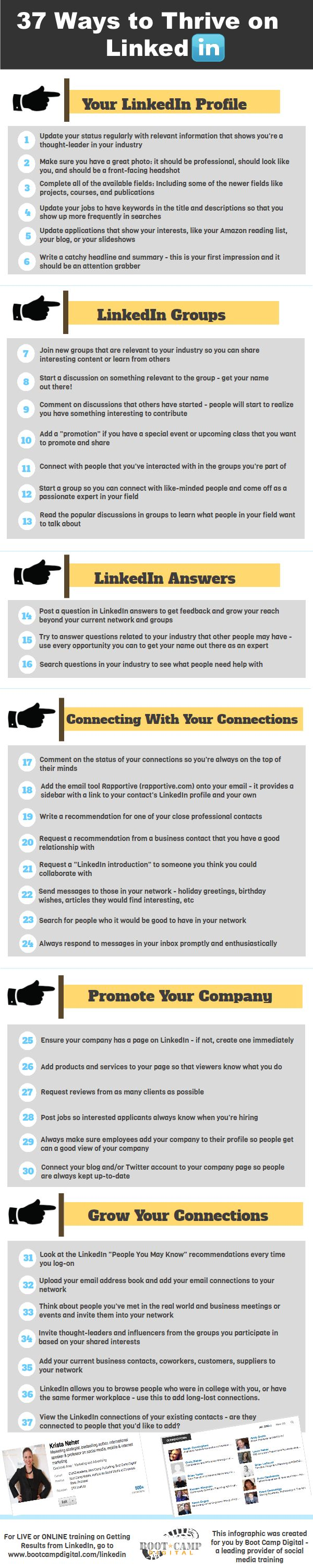 37 ways to make sure you are getting the most out of your #LinkedIn account. Great for professional development, networking, and finding job opportunities.