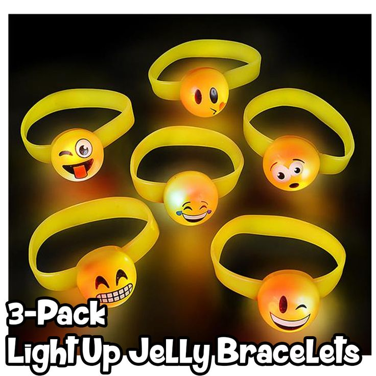 - 3 Pair of Assorted styles of Light Up Jelly Bracelets are just what your little one is looking for - Just press the button, and watch the bracelet dance with light. With 6 random styles, you're sure