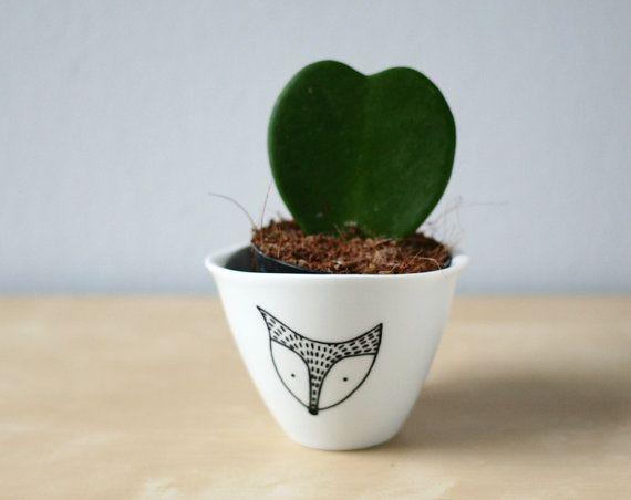 Fox mini bowl  Porcelain thimble cup with a Fox by LesMiniboux