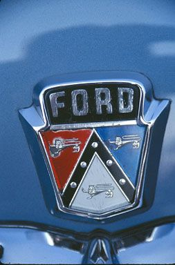 Ford Or Chevy >> Stock Photo of ford red white blue hood emblem 1954 sedan classic car | Car hood ornaments ...