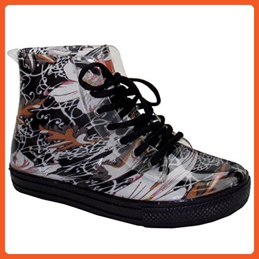 New Women Glitter&Floral Print Jelly Rain Boots Lace Up Ankle Rubber Shoes  Silver Glitter 7 US