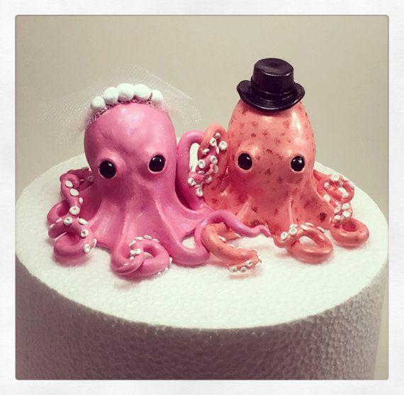 Octopus wedding cake topper , octopus bride and groom , custom cake topper