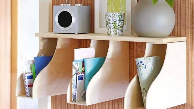 20+ Creative Uses for Magazine Holders to Organize Your Home --> Create a mail station to organize your mail and accessories with a shelf and a few magazine holders