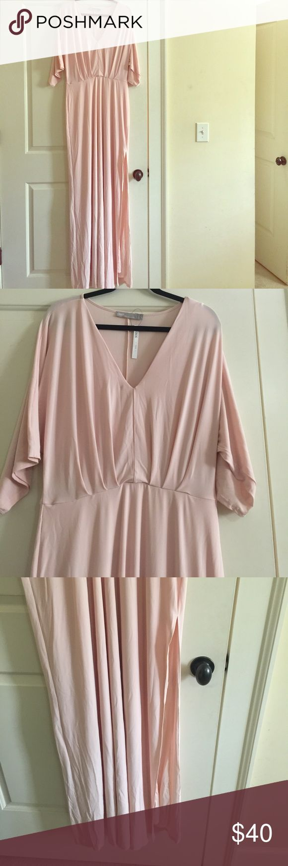 Asos Tall Kimono Plunge Maxi Dress NWT Heavenly Asos light pink Maxi dress! Kimono sleeves with slit to thigh make this dress an instant favorite! Perfect for bridesmaid dress or a night out with the girls that you can wear over and over again! Small mark on top left neck line. Asos Dresses Maxi