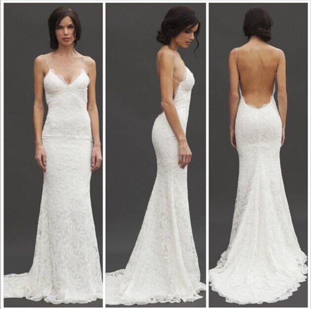 New Sex Lace Wedding Dress Low Back Spaghetti Strap Custom Made D1111