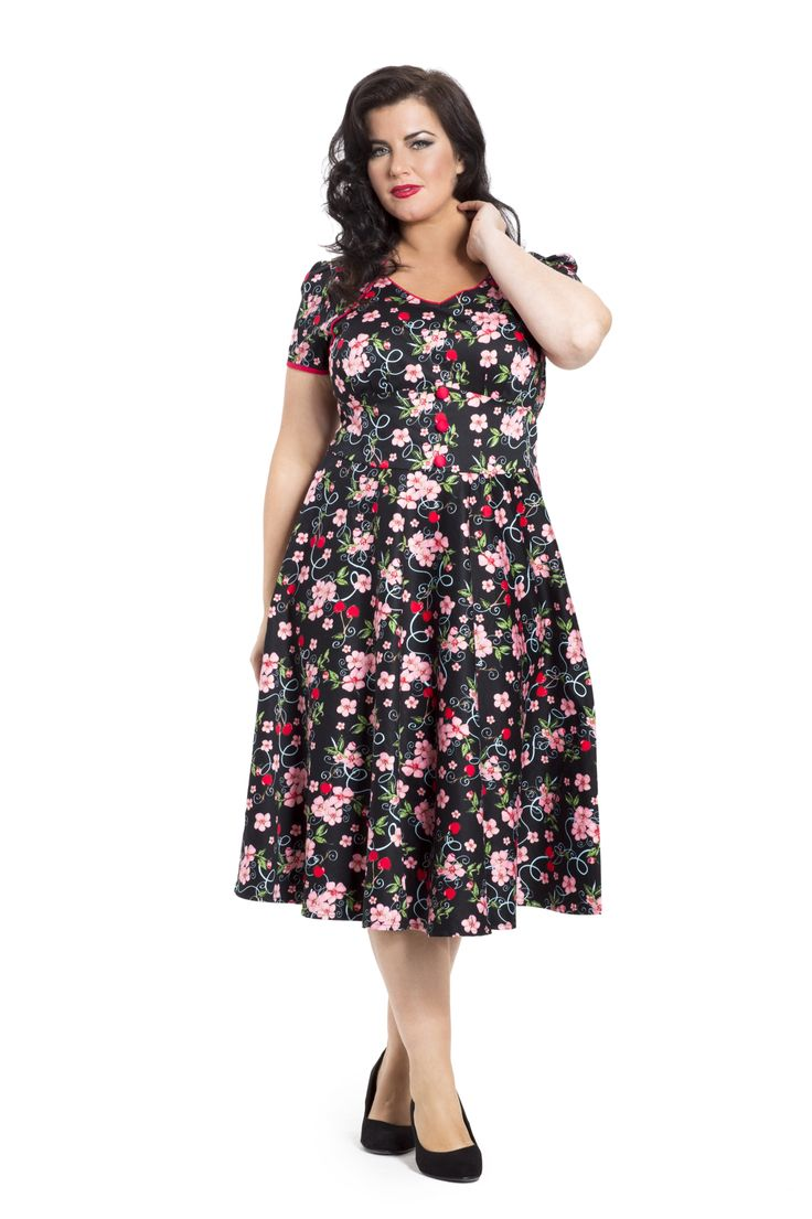 A fab floral vintage inspired dress with a button front & figure hugging bodice! Available online from sizes 16-26 -->  http://www.claireabellascloset.co.uk/vintage/vintage-plus-size/product/1022-voodoo-vixen-plus-size-adeline-dress