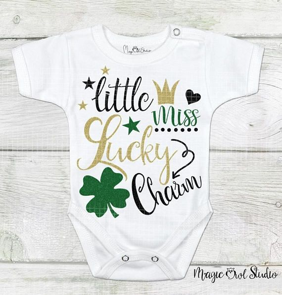 Little Miss Lucky Charm St. Patrick's Day Svg Glittered Shamrock Crown Heart Stars Text Irish Holiday Digital Download Files Eps Png Dxf Jpg